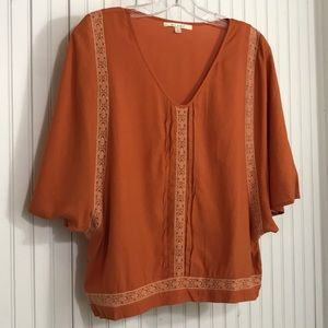 Miami Short Sleeve Blouse with Lace Insert